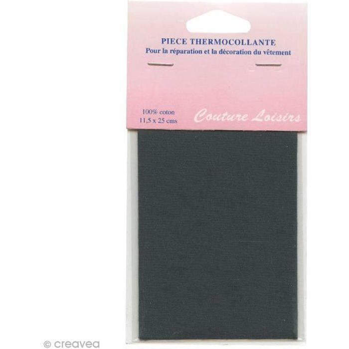 Pièce thermocollante - Gris foncé - 100% coton - 11,5 x 25 cm