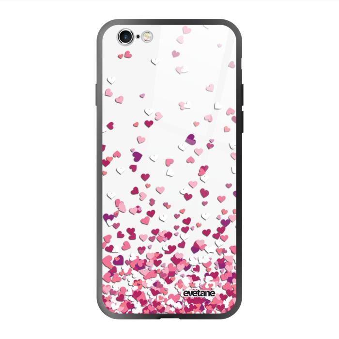 Coque en verre trempé pour iPhone 6/6S Confettis De Coeur Ecriture Tendance et Design Evetane.