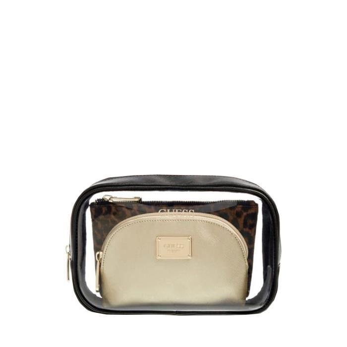 Trousses de toilette Guess ref 52508 BML 23*16*8 TU Marron, Noir Et Or