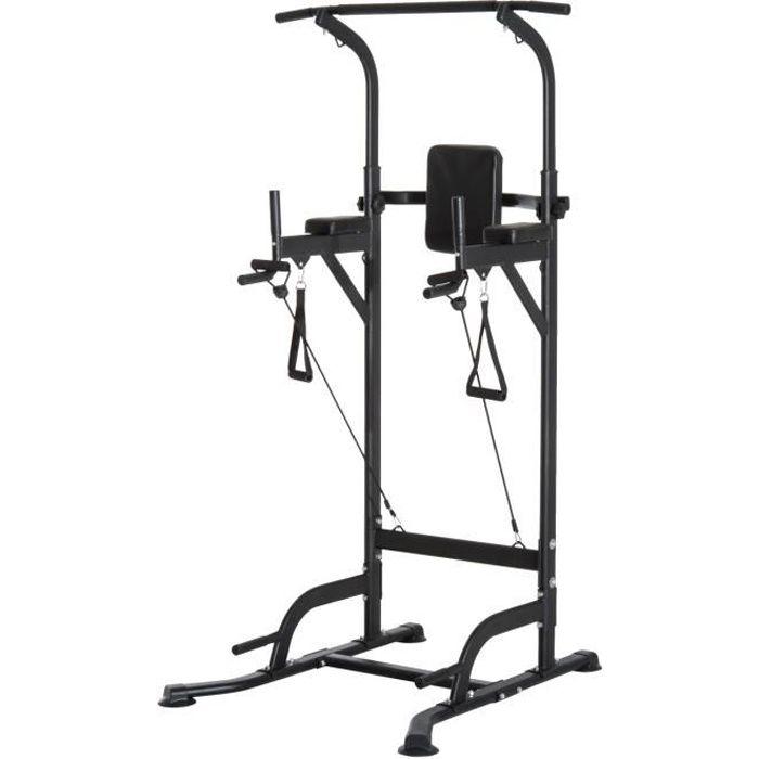 Station de traction musculation multifonctions chaise romaine hauteur réglable acier noir neuf 56