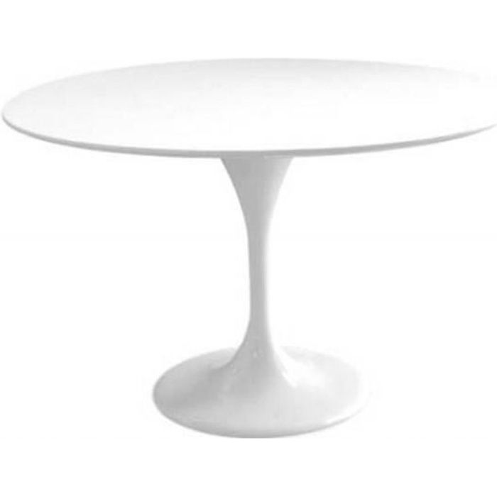 Table ronde de repas design TULIPE laquée blanc 120 cm. - - Inside75