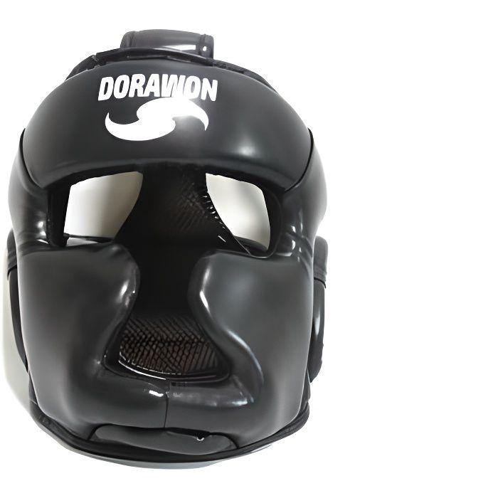 DORAWON, Casque de protection boxe KANSAS , noir. Casque de boxe et sport de combat ideal pour les entraînements et les