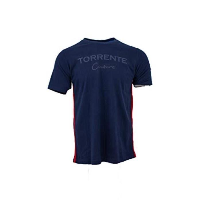 T-shirt manches courtes col rond uni Torrente Couture Ancaeum - Bleu Marine
