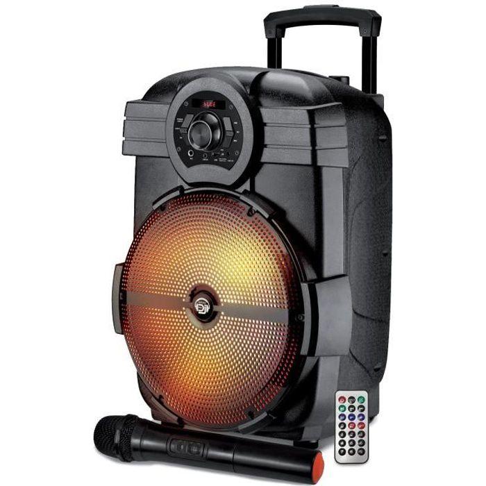 Enceinte sur batterie MyDj BROZY12 à LED pilotable via Application - 600W - USB/BT/AUX - Télécommande + Micro VHF