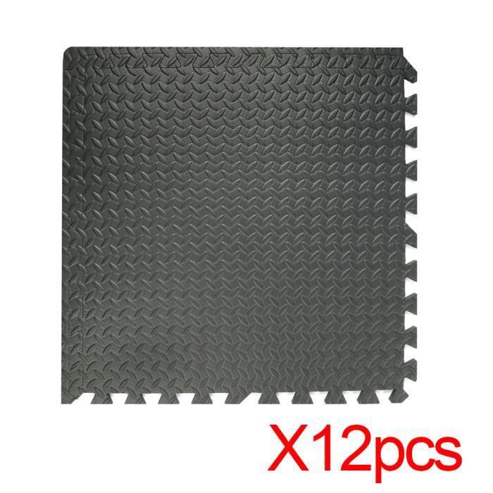 Tapis de protection de sol – 12 dalles en EVA mousse + bordures - Matelas puzzle pour matériel fitness, gym, musculation - NOIR