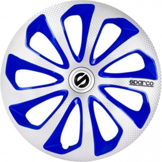 Sparco enjoliveurs Sicilia 15 pouces ABS argent / bleu lot de 4