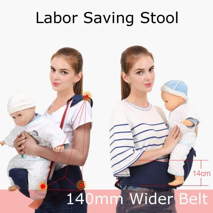 Porte Bébé Ventral Multifonction - Siège Tabouret Confortable Ceinture Sécurité pour Nouveau-né Bébé 0-36 mois Bleu