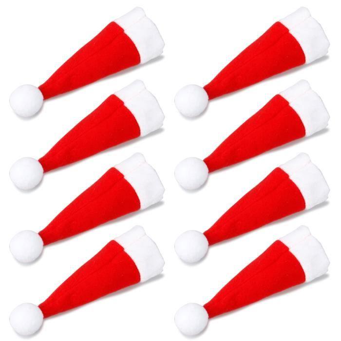 TRIXES Ensemble de 8 Porte-couverts Originaux Bonnets de Père Noël pour le Dîner de Noël
