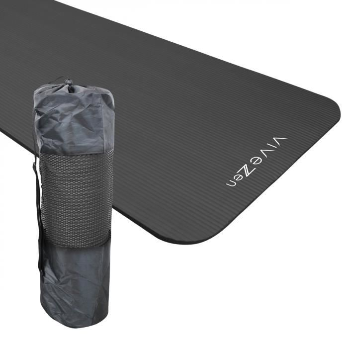 Tapis de yoga, de gym, d'exercices 180 x 60 x 1,2 cm + sac de transport - Gris