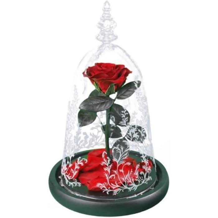 BTH22931-Rose Éternelle sous Cloche en Verre, Fleurs Éternelles Faites Main avec Lumières LED Colorées, Valentin Cadeau, Annive