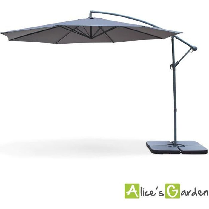 hardelot parasol d port rond 350cm gris achat vente parasol parasol d port 350cm. Black Bedroom Furniture Sets. Home Design Ideas
