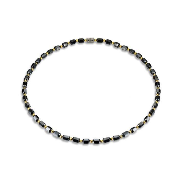 SAUTOIR ET COLLIER Collier magnétique de perles de prisme hexagonal d