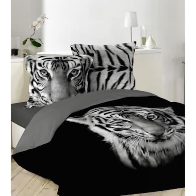 housse de couette noir imprime tigre blanc 220x240cm 2. Black Bedroom Furniture Sets. Home Design Ideas