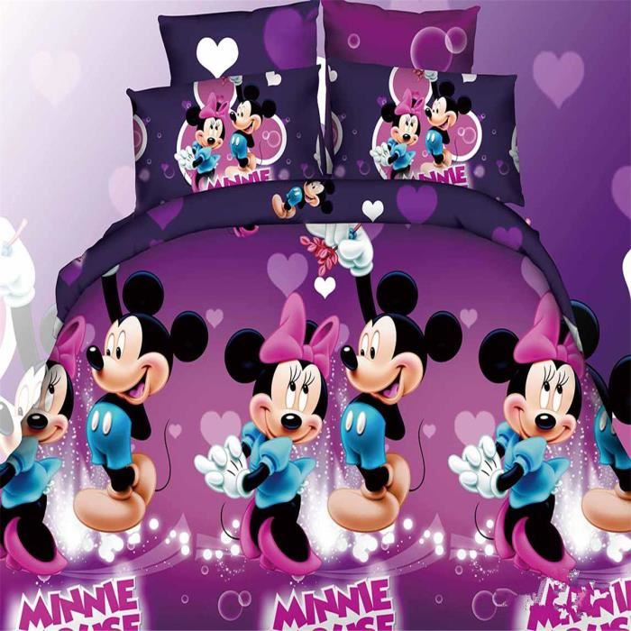 l m disney mickey et minnie parure de couette parure de lit 1 housse de couette220x 240 cm 2. Black Bedroom Furniture Sets. Home Design Ideas