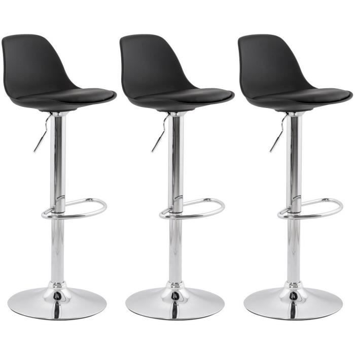 ho lot de 3 tabouret de bar noir avec dossier achat. Black Bedroom Furniture Sets. Home Design Ideas