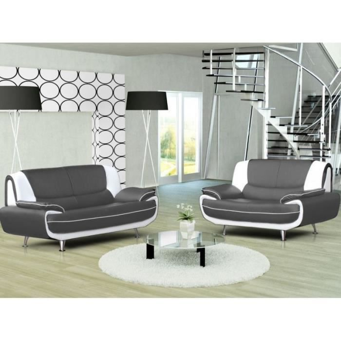 ensemble canap 3 2 places gris et blanc design achat. Black Bedroom Furniture Sets. Home Design Ideas