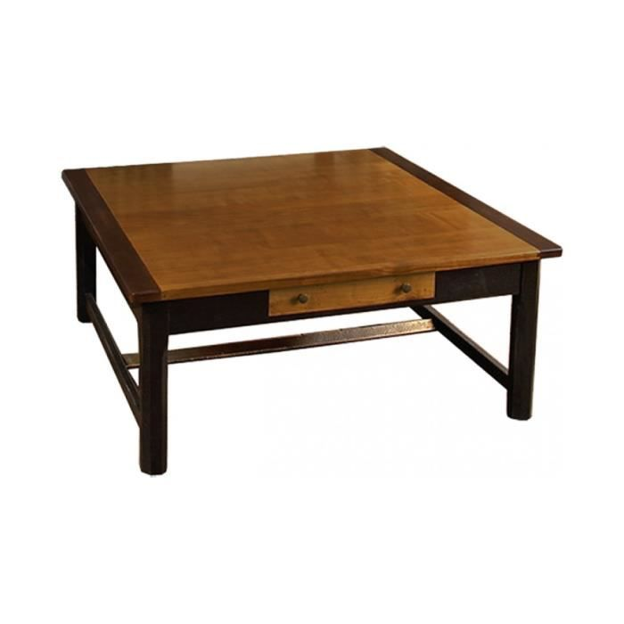 Table basse carr e merisier 1 tiroir achat vente table for Table carree 8 places