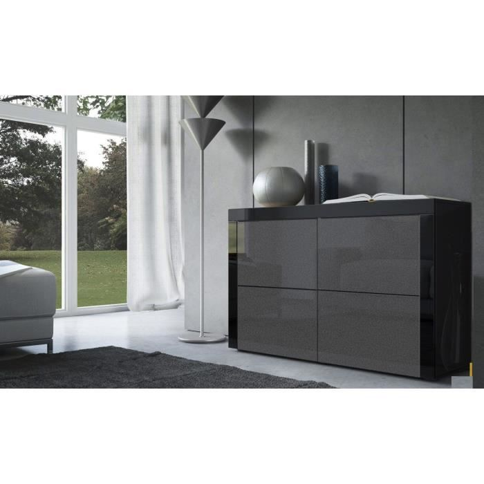 commode laqu e noir et noir m tallique achat vente. Black Bedroom Furniture Sets. Home Design Ideas