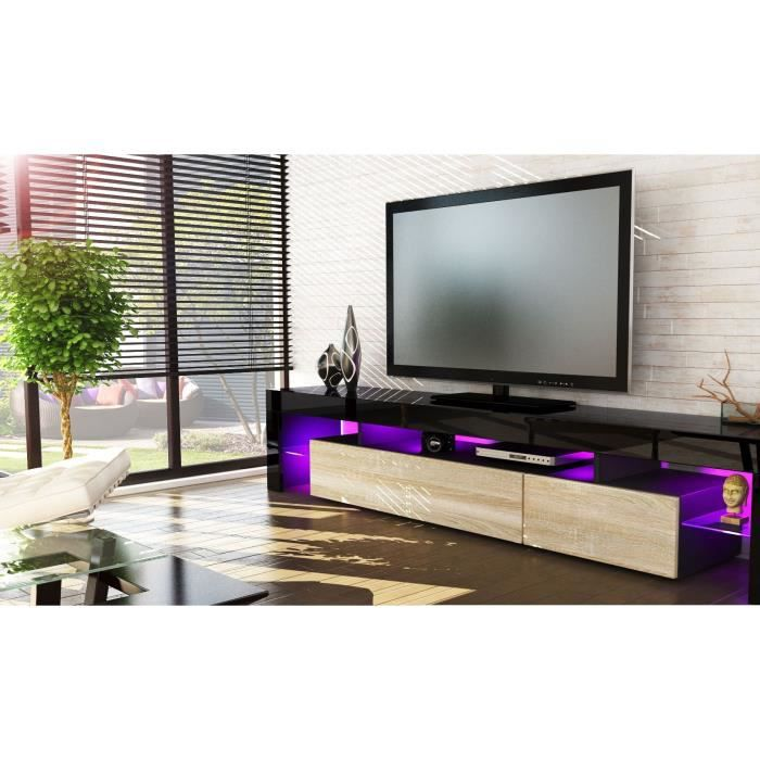 meuble tv noir et bois brut 199 cm achat vente meuble. Black Bedroom Furniture Sets. Home Design Ideas
