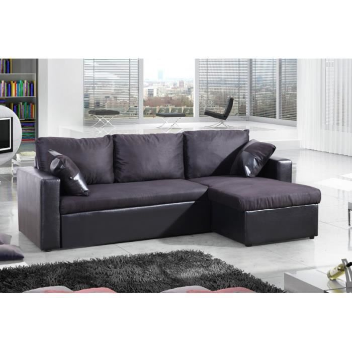 atka noir canape d 39 angle noir convertible lit microfibre. Black Bedroom Furniture Sets. Home Design Ideas