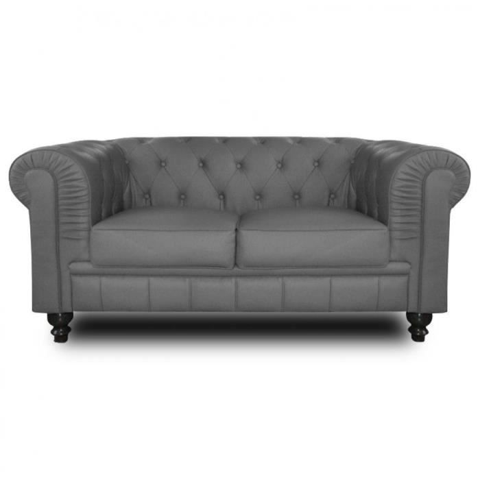 Canap chesterfield royal 2 places gris achat vente canap sofa divan - Canape chesterfield cuir gris ...