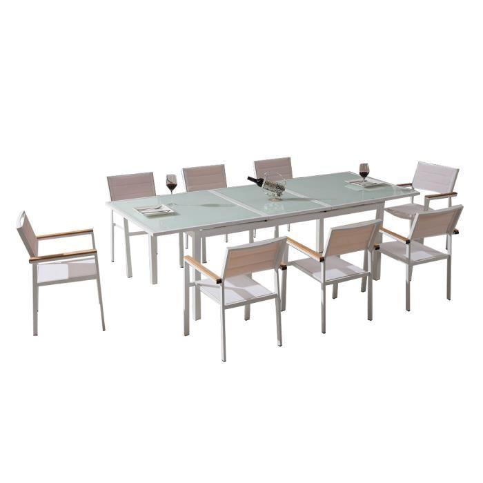 Ensemble table et fauteuils de jardin en verre trempé blanc ...