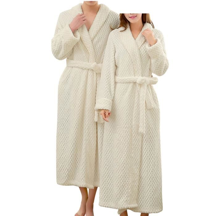 blanc pyjama nuisette unisexe peignoir femme et homme couple ponge flanelle velours cadeau no l. Black Bedroom Furniture Sets. Home Design Ideas
