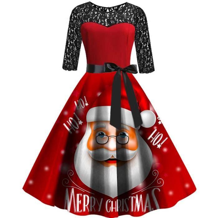 ROBE Robe - Noël Femmes manches mi-longues en dentelle