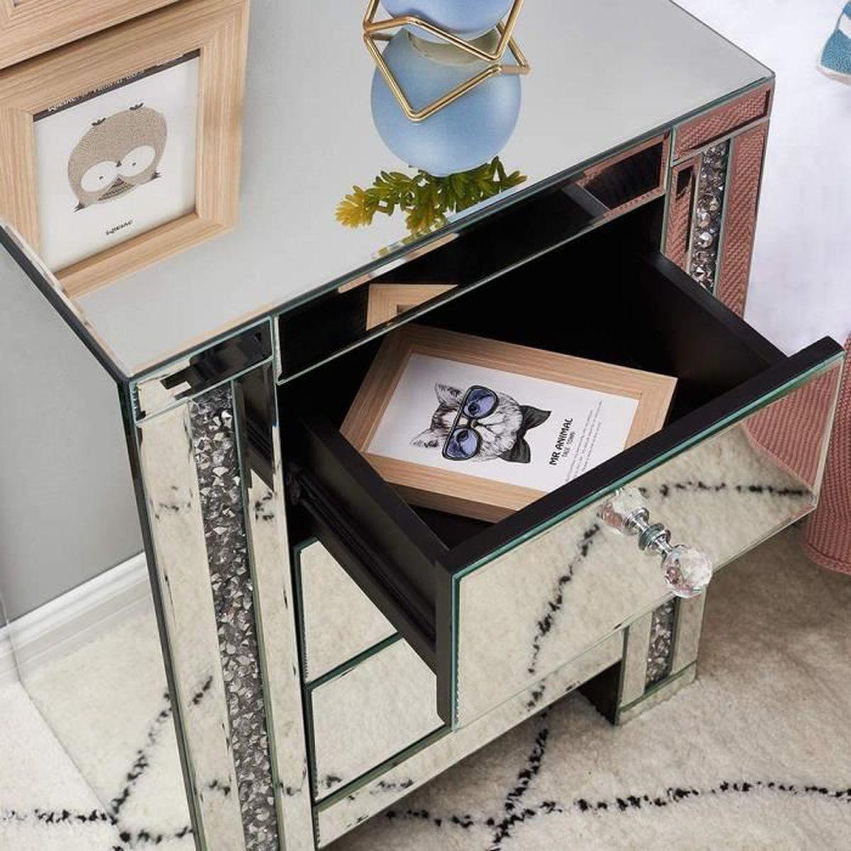 Table De Chevet Miroir Pas Cher table de chevet miroir en verre meuble de rangement avec 3 tiroirs sur  salon, chambre, bureau, 44 x 32 x 60 cm