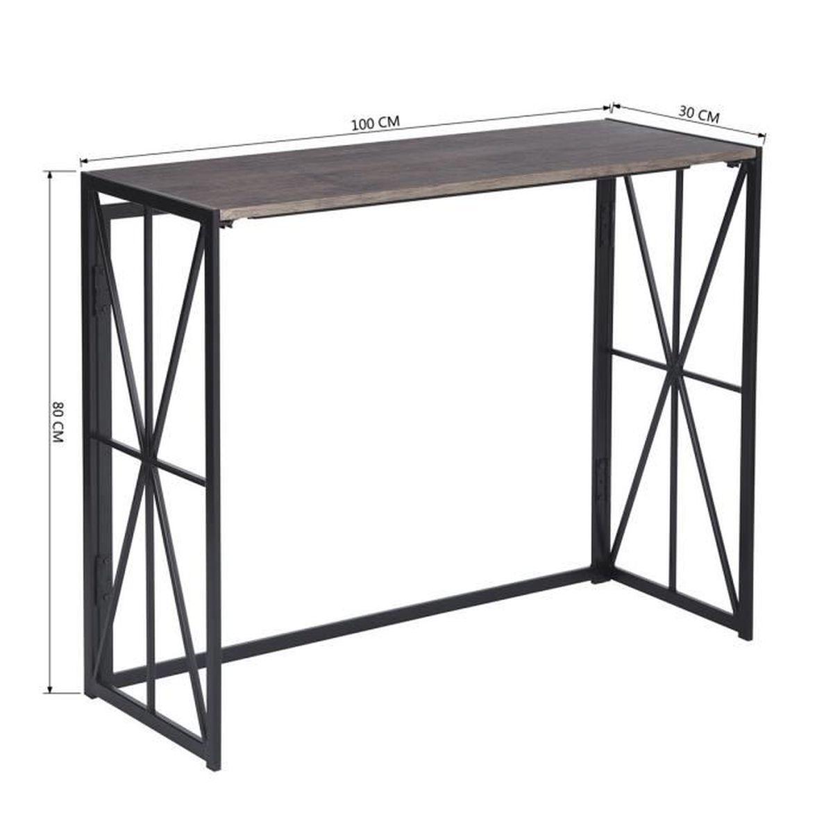 Ossature Métallique Pour Terrasse Bois incroyable pliable pupitre en métal en bois pupitre de structure en métal  pour le balcon et la terrasse du salon table de bureau