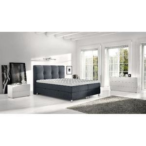 ENSEMBLE LITERIE Lit Boxspring Robert 180x200 coloris anthracite av