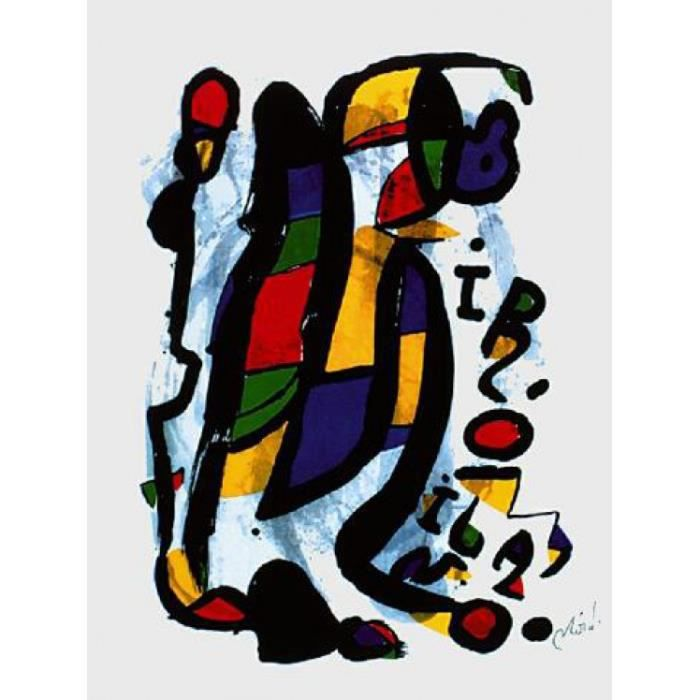 joan miro poster reproduction milan 80 x 60 cm achat. Black Bedroom Furniture Sets. Home Design Ideas