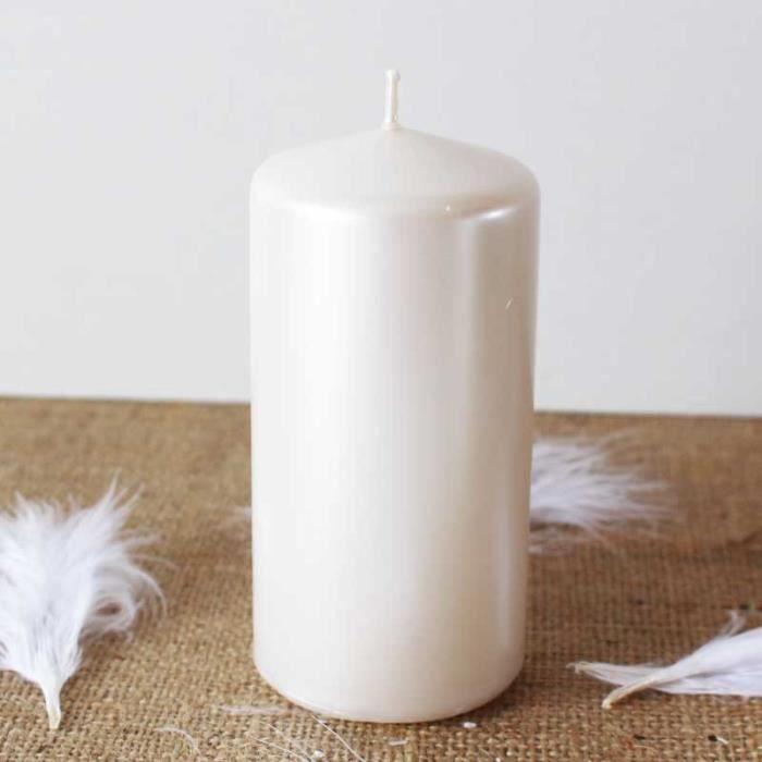 6 Pcs bougie cylindre perle nacrée 12cm, diamètre 6cm déco mariage, fêtes, anniversaire, noël, maison, baptème