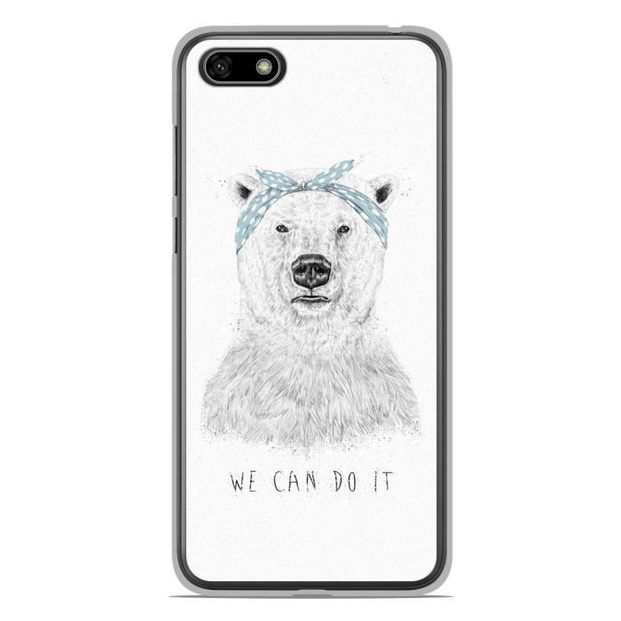 Coque pour smartphone compatible Huawei Honor 7S en silicone gel protection arrière- BS We can do it