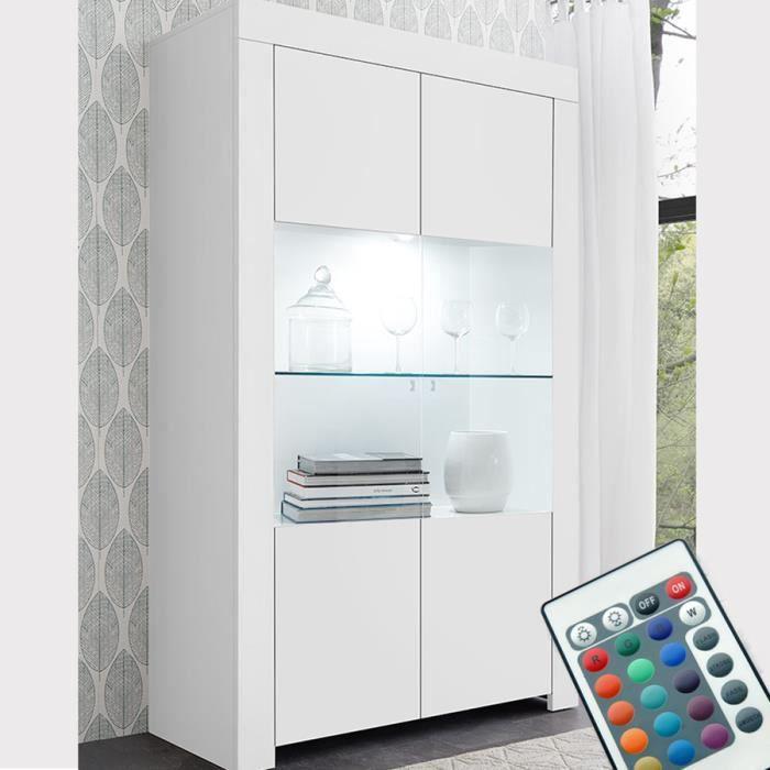 Vaisselier LED 110 cm blanc laqué design AGATHE L 110 x P 43 x H 191 cm Blanc