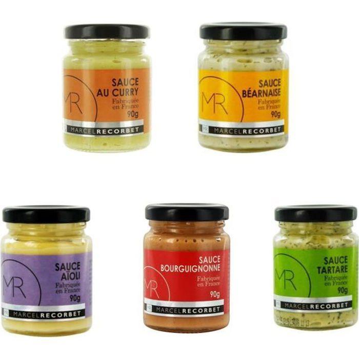 Lot 5x90g - Sauce fabriquée en France - MR - Curry, béarnaise, tartare, aïoli, bourguignonne