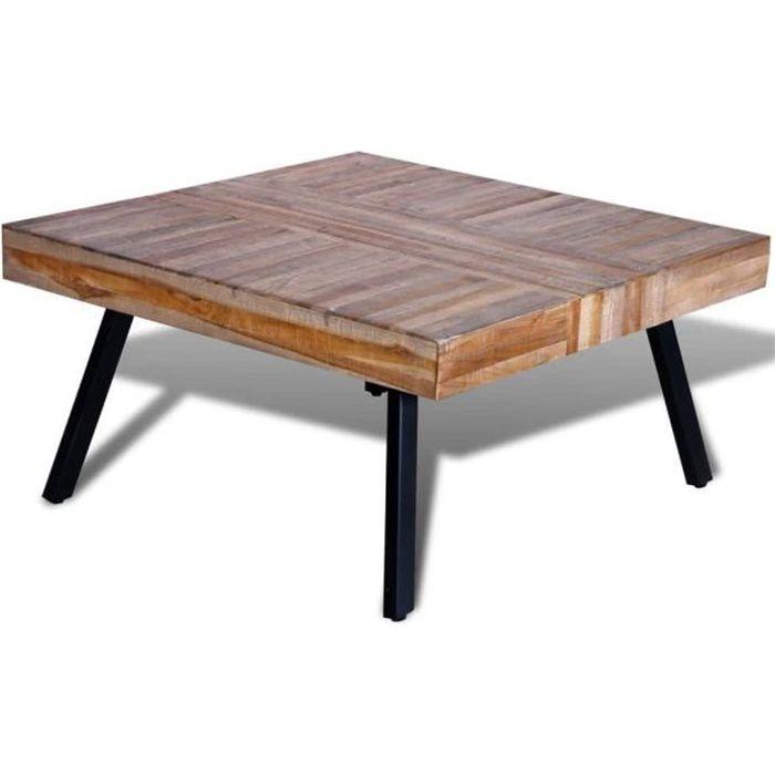 Table basse - TABLE DE SALON carrée Bois de teck d Table basse carrée Bois de teck de récupération #1074