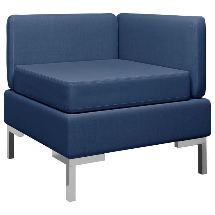 Canapé d'angle sectionnel Sofa Divan Canapé de salon Confortable avec coussin Tissu Bleu