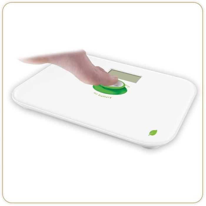 LITTLE BALANCE 8154 Kinetic Blanc / Vert - Pèse-personne sans pile - Ecologique grâce son bouton Little Balance - 180 kg / 100 g
