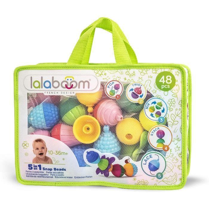 Lalaboom – Jouet d'Eveil Educatif – Set Perles et Accessoires à Assembler Premier âge - Jeu de Construction Formes et Couleurs Evolu