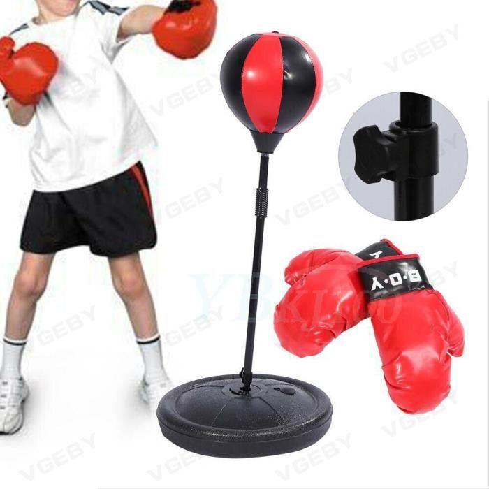 Enfants réglables en hauteur Punching Ball Bag Speed Boxing Sports Set Jeu de combat avec des gants -CYA