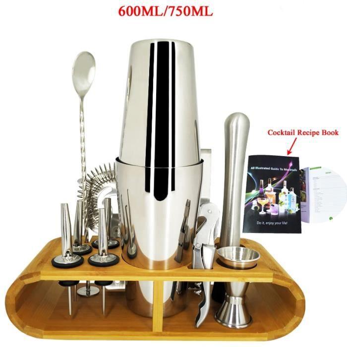 Accessoires bar,Ensemble de secoueur de Cocktail de Kit de barman de Boston de 11 pièces ensemble - Type 750 600ML With Rack