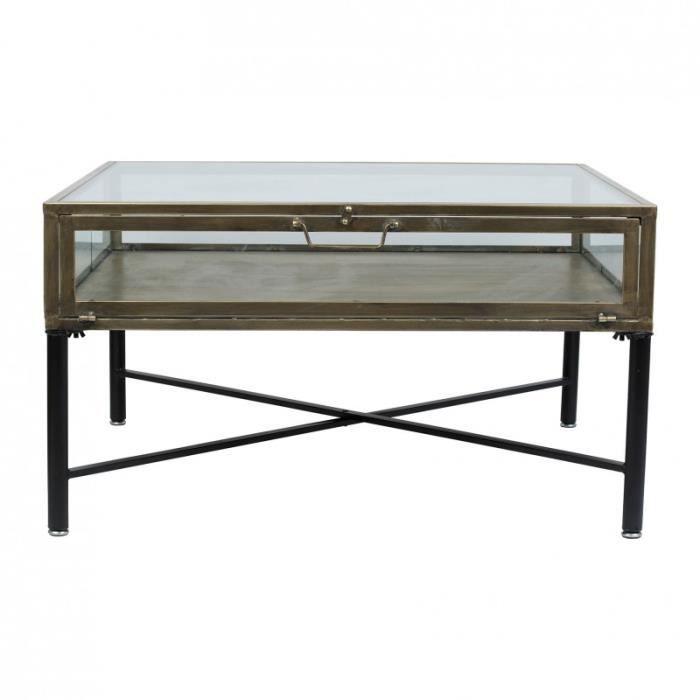 Table basse TAHRA noire et doré 80x81x45cm 80cm Fer
