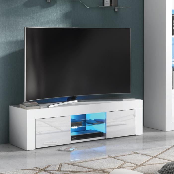 Dripex Meuble TV moderne décor Blanc avec étagères et placards de Rangement - Support télévision - 130 cm