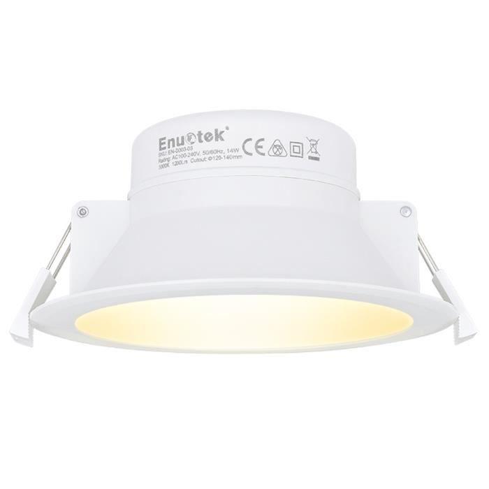 14W Lampe Spot LED Encastrable Plafond Eclairage Plafonnier Encastrable Blanc Chaud 3000K 220V IP44 Trou Plafond Φ120-140MM ENUOTEK
