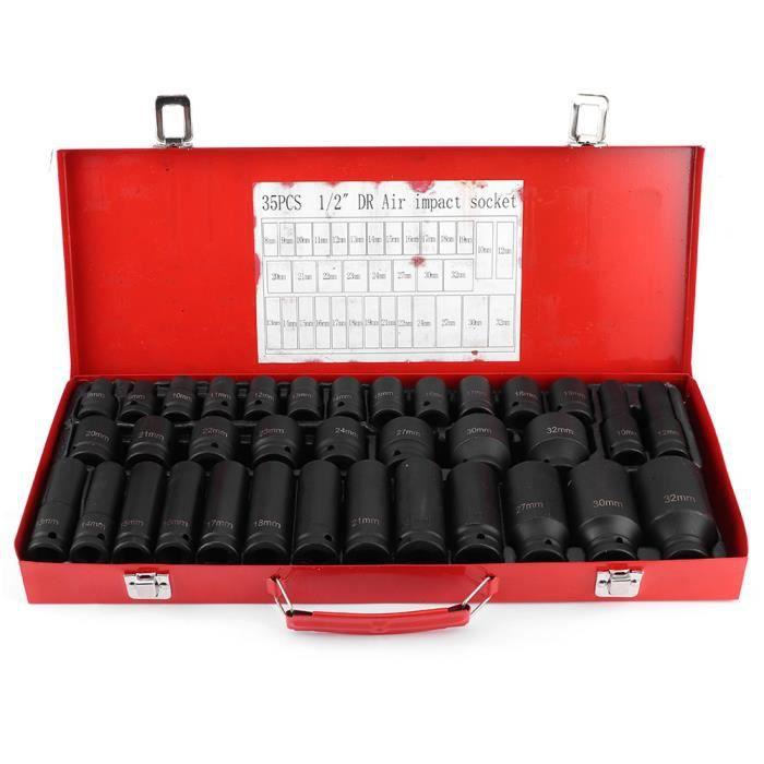 35 pièces Jeu de douilles hexagonales métriques à chocs profonds kit d'outils reparation automobiles - QIN