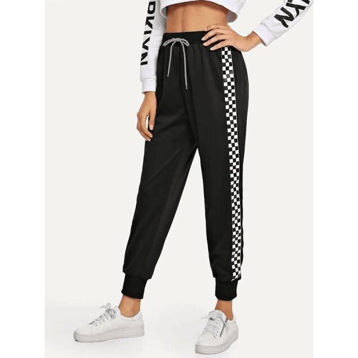 Pantalon de Sport Femme Taille Haute Elastiquee Bicolore Carreaux