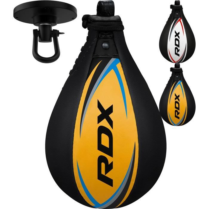 RDX Cuir De Vachette Boxe Poire De Vitesse Frappe Entrainement MMA Speed Bag Muay Thai Punching Ball et Pivotant Rotule Plafond
