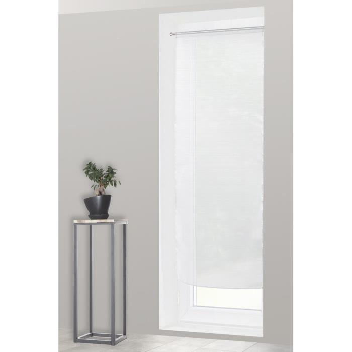 Voilage Vitrage 70 x 190 cm Rayures Horizontales Blanc