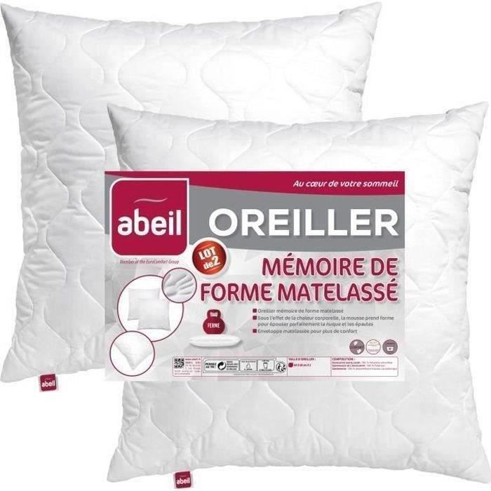 abeil lot de 2 oreillers m moire de forme matelass s 60x60 cm blanc achat vente oreiller. Black Bedroom Furniture Sets. Home Design Ideas